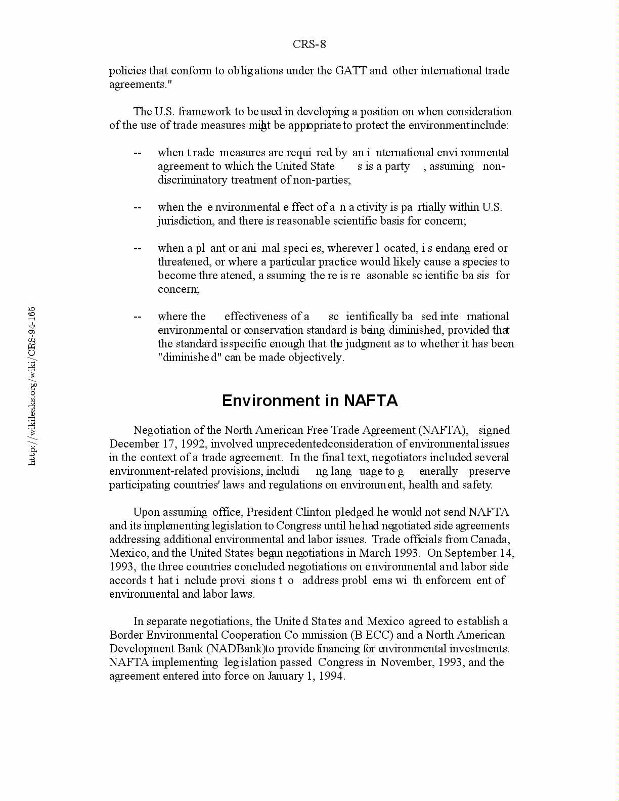 Trade And Environment Treatment In Recent Agreements Gatt And Nafta